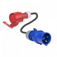 Câble adaptateur CEE 5 broches 32A (TRI femelle) vers 3 broches 32A (MONO male)